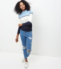 Blue Colour Block Funnel Neck Jumper | New Look