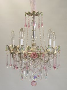 The Bella Rose Chandelier is a stunning chandelier loaded with Murano Artglass Teardrops, French cut crystal pendalogues, porcelain roses and dripping Shabby Chic Mode, Romantic Shabby Chic, Shabby Chic Style, Shabby Chic Decor, Diy Chandelier, Chandelier Shades, Vintage Chandelier, Chandeliers, Chandelier Makeover