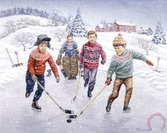 Breakaway by Richard De Wolfe ~ boys playing ice hockey on frozen pond ~ winter Ski, Creation Photo, Christmas Scenes, Christmas Time, Retro Images, My Art Studio, Canadian Art, Vintage Winter, Boys Playing
