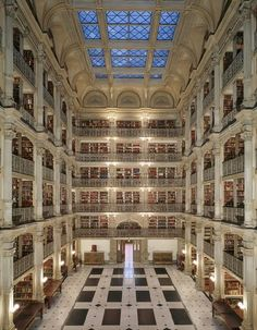 The George Peabody Library at Johns Hopkins University - Baltimore, Maryland
