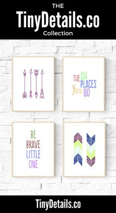 Be brave little one in a collection of 4. Nursery art, nursery décor, nursery quotes, modern nursery, nursery artwork, kids, baby, and nurseries all at www.tinydetails.co