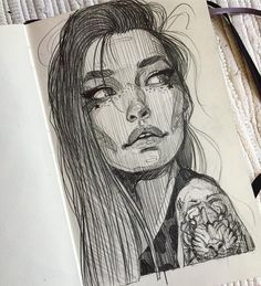 """The girl with the tiger tattoo"" #pencil #girl #tiger #tattoo #moleskine #erase #practice #sexy #drawing #art #painting #black #white #asiangirl #star #afternoontea #saturday #love #fresh #positivevibes #portrait"