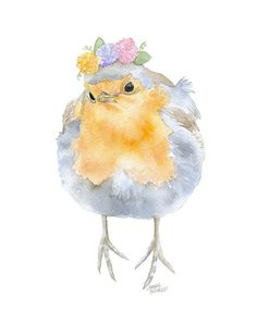 Robin with Flowers Watercolor – Susan Windsor