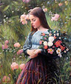 Girl with Flowers. Girls With Flowers, Portrait Paintings, Bridesmaid Dresses, Wedding Dresses, Beautiful Artwork, Children, Illustration, Artist, Life