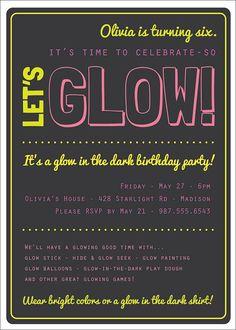 Glow in the Dark Theme Birthday Party Invitation Custom Printable - G…