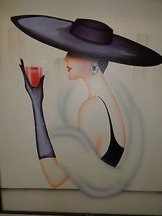 Vintage Signed Airbrush Art Deco Style Classy Lady with Wide Brimmed Hat Vintage Signs, Vintage Art, Vintage Ladies, Art Deco Stil, Art Deco Posters, Woman Painting, Painting Art, Art Deco Paintings, Airbrush Art
