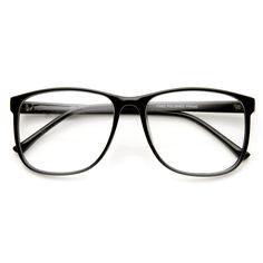 Large Retro Nerd Hipster Fashion Clear Lens Glasses 9339 | zeroUV