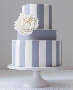 simple blue stripe wedding cake and white sugar peony