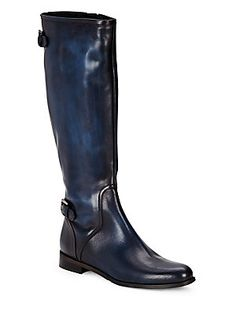 Saks Fifth Avenue Leather Knee-High Boots - Black - Size