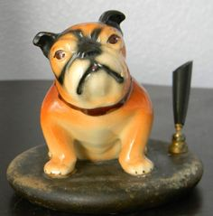 Vintage Ceramic English Bulldog Pen Holder Sitting Figurine Wood Base