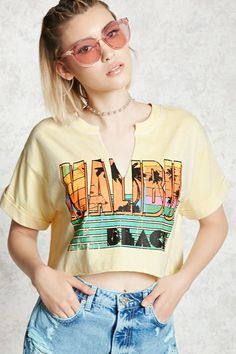 Malibu Graphic Cropped Tee | Forever21
