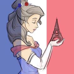 Belle (disney) mourns her beloved Paris Film Disney, Disney Kunst, Disney Nerd, Disney Belle, Disney Fan Art, Disney Girls, Disney Fanatic, Disney Beauty And The Beast, Disney And More