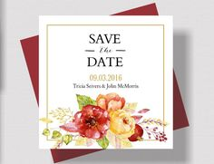 AUTUMN Save the Date Cards Watercolor Floral  by traditionsbydonna