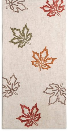 Bardwil Stitched Leaf 14 x 70 Table Runner Hand Embroidery Videos, Hand Embroidery Patterns, Embroidery Stitches, Fabric Paint Designs, Leaf Table, Leaf Design, Fabric Painting, Embroidered Flowers, Tricks