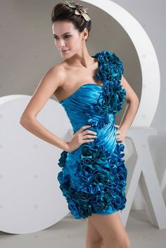 Need to take some of my short dresses I never wear and add statement pieces to them. Pretty Dresses, Blue Dresses, Short Dresses, Prom Dresses, Formal Dresses, Cocktail Gowns, Satin Flowers, Dress P, Most Beautiful Women