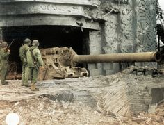 One of the two bunkers of the Crisbecq Battery with a 210mm Skoda gun, Saint Marcouf, Normandy, France, June 1944