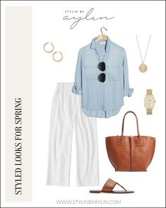 Stylin by Aylin helps you shop today's BEST fashion! Summer Work Outfits, Mom Outfits, Everyday Outfits, Casual Outfits, Cute Outfits, Fashion Outfits, White Wide Leg Pants, I Love Fashion, Fashion Styles