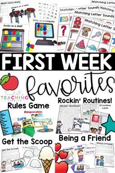 First week favorites has class meetings on rules, good habits, partner play, routines, and word lessons. Create a classroom community and keepsake backpack. First Week Activities, Back To School Activities, School Ideas, Teaching Activities, Physical Activities, Teaching Ideas, 1st Day Of School, Beginning Of The School Year, Middle School