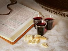 An open Bible with small cup of wine and unleavened bread. Bible Crafts, Bible Art, Bible Verses, Jesus Coming Back, Open Bible, In Remembrance Of Me, Bible Study Notebook, Seventh Day Adventist, Bible Coloring Pages