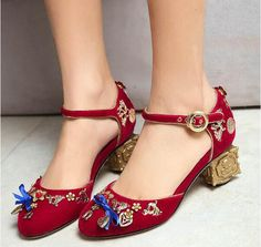 Vintage Metal Flower Decorations Velvet Thick Heels Shoes Round Toe  Butterfly knot Mary Janes High Heel Shoes Women Big Size 11-in Women s  Pumps from Shoes ... 5135b8f40237