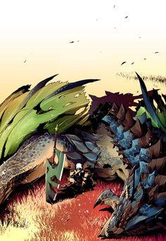 Mission complete by Ryuuta Monster Hunter Series, Monster Hunter Art, Fantasy Dragon, Hunter X Hunter, Manga, Game Art, Concept Art, Cool Art, Beast