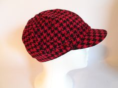 Newsboy Hat With Bill Front Band Dark Red Black Houndstooth Womens Charter Club