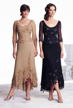 Scoop Neckline Long Illusion Sleeves Applique Flower New Dress, Quality Unique Mother of the Bride Dresses Summer Mother Of The Bride Dresses, Mother Of Groom Dresses, Bride Groom Dress, Mothers Dresses, Mob Dresses, Tea Length Dresses, Bridesmaid Dresses, Wedding Dresses, Dresses 2016