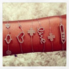 All silver bracelets with cubic zirconias