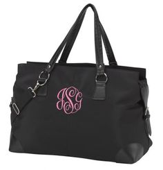 """Black Microfiber Weekender Bag for only $32.95! Personalize yours at www.sassystitchboutique.com. Use Coupon Code """"PINTEREST1"""" for 10% off your order!"""