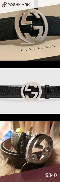 035d28a1419 Authentic Gucci belt leather Gucci Belt authentic leather black Buckle  silver Size 90 cm new never used Waist size is Size is waist Accessories  Belts