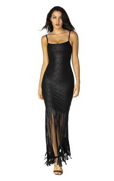 Shimmer into the evening in this strappy bandage gown embellished with a black woodgrain print and eye-catching fringe. Concealed center back zipper and hook-and-eye closures Fabric Self: 90% rayon, 9% nylon, 1% spandex woodgrain foil print bandage; Trim: 100% rayon foiled fringe See label for care instructions Imported Little Black Cocktail Dress, Fringe Dress, Herve Leger, Dresses Online, Dress Outfits, Gowns, Zipper, Wood Grain, Label