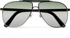 Leather and Metal Aviator Sunglasses - Lyst