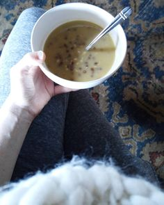 Sitting by the fire with a delicious bowl of split pea and brown lentil soup!  Happy Saturday!