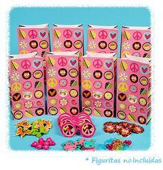 Artículos de Fiesta Infantil : BOLSA HIPPIE CHIC. Estas preciosas bolsas de papel son ideales para hacer detalles para los invitados en las fiestas de cumpleaños o cualquier otra celebración. Se pueden llenar de caramelos variados, figuritas o detalles variados.