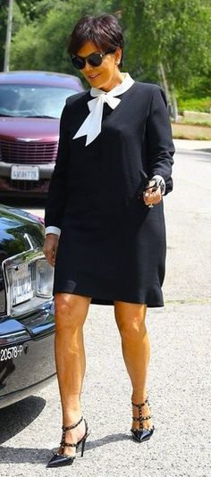 "Kris Jenner wearing the Valentino ""Noir"" Rockstud pumps SPRING-SUMMER 2013 COLLECTIONS"