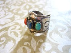 Vintage Sterling Silver Turquoise Coral and Lapis by charmingellie, $74.00