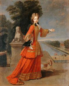 Pierre Gobert (1662-1744), Marie-Adélaïde de Savoie, duchesse de Bourgogne (1685-1712) représentée en habit de chasse devant une vue du Grand Canal du château de Fontainebleau, Huile sur toile, 1704. © RMN-Grand Palais (Château de Versailles) / Gérard Blot