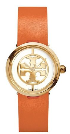 love this orange leather and gold Tory Burch watch #BlackFriday http://rstyle.me/n/t5fjhr9te