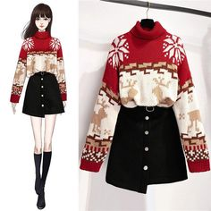 Christmas high neck sweater + short skirt suit – orchidmet Source by novianurputriasani dresses sketches Dress Design Sketches, Fashion Design Drawings, Fashion Sketches, Dress Designs, Kpop Fashion Outfits, Girls Fashion Clothes, Stylish Outfits, Fashion Drawing Dresses, Fashion Illustration Dresses