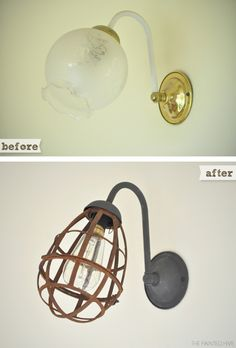 DIY vintage industrial sconce refresh using a plastic cage light and metal effects paint Sconce Lighting, Home Lighting, Lighting Ideas, Barn Lighting, Industrial Cage Light, Industrial Industry, Modern Industrial, Vintage Industrial, Industrial Design