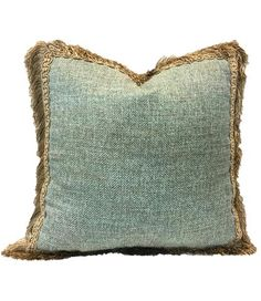 Decorative Square Pillow Blue with Fringe 19x19