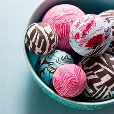 Fabric Scrap Balls: An easy craft to make, these fabric-wrapped balls use up scraps from your stash and can be displayed in a pretty bowl. Cut strips from coordinating fabrics and use glue to adhere them to foam balls. Select a variety of fabric patterns and use both small and large balls for extra interest.  Great way to use up your fabric scraps!