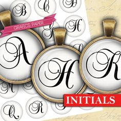 Alphabet letters Initial  digital collage sheet  by GraphicsPaper