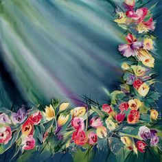 Галерея Цветочная мозаика : Шелковый платок Цветы в бирюзе С-60