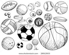 hand drawn doodles on a sports theme Royalty free stock photos