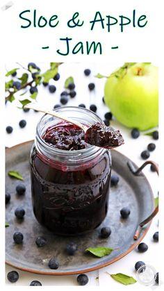 My Sloe & Apple Jam recipe is made with just 3 ingredients and no pectin or jam sugar. Wonderfully tart yet sweet, sloes and apples make the perfect pairing in this exquisite jam. Plus check out my sloe pitting hacks! #sloejam #sloeberryjam #sloejamrecipes #sloejamjelly #sloeandapplejam #hedgerowjam Gin Recipes, Jelly Recipes, Vegan Recipes Easy, Cooking Recipes, Rosehip Recipes, Sloe Berries, Apple Jam, Blueberry Jam, Jam And Jelly