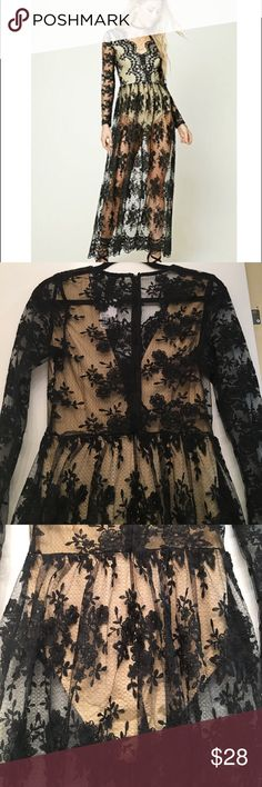 Lace Black and Nude Party Dress NWT!! Gorgeous black lace with built in nude body suit underneath.  Body suit has a Velcro closure.  I bought two dresses and ended up going with the other one because this one was too long for me as I'm right at 5ft.  Deep plunging neckline.  Back is just lace, no body suit lining.  Long sleeves 😍😍😍 Forever 21 Dresses Maxi