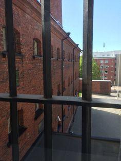 View from inside the Hotel Katajanokka.  If it looks like a prison, it's because the building used to be the Katajanokka Prison from 1837-2002.  (The hotel opened in 2007.) #travel #finland #scandinavia #europe #helsinki #suomi #hotel #bestwestern #nordic