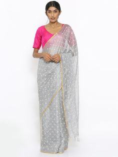 Via East grey handloom kota silk saree with mirror work and zari border Kota Silk Saree, Silk Sarees, Sari, Grey Saree, Soft Fabrics, Hand Weaving, Elegant, Pew Pew, Dresses