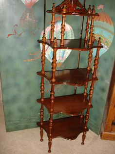 Antique Vintage Natural Wicker Rattan Victorian Corner Shelf Unit 3 Tier Display Stand